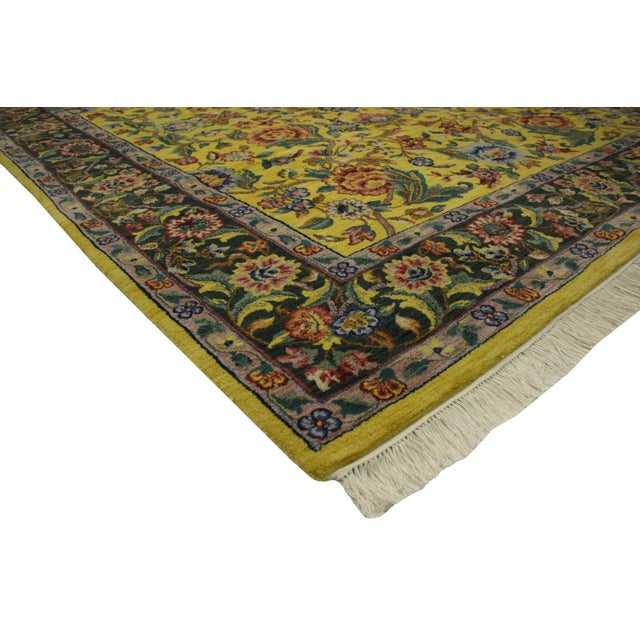 "Vintage Traditional Style Yellow Area Rug - 7'10"" x 9'9"" - Image 2 of 5"