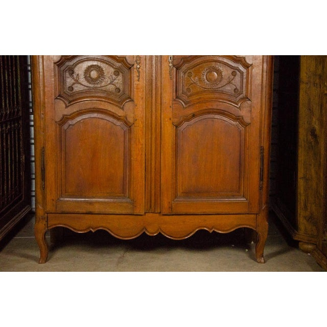 19th Century Louis XV Antique French Carved Armoire For Sale - Image 4 of 13