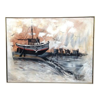 Mid Century Modern Harbor Scene Abstract Oil Painting by James Roberts For Sale