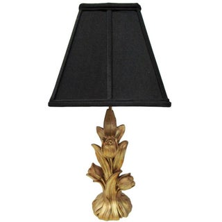Chapman Floral Gold Lamp With Black Shade For Sale