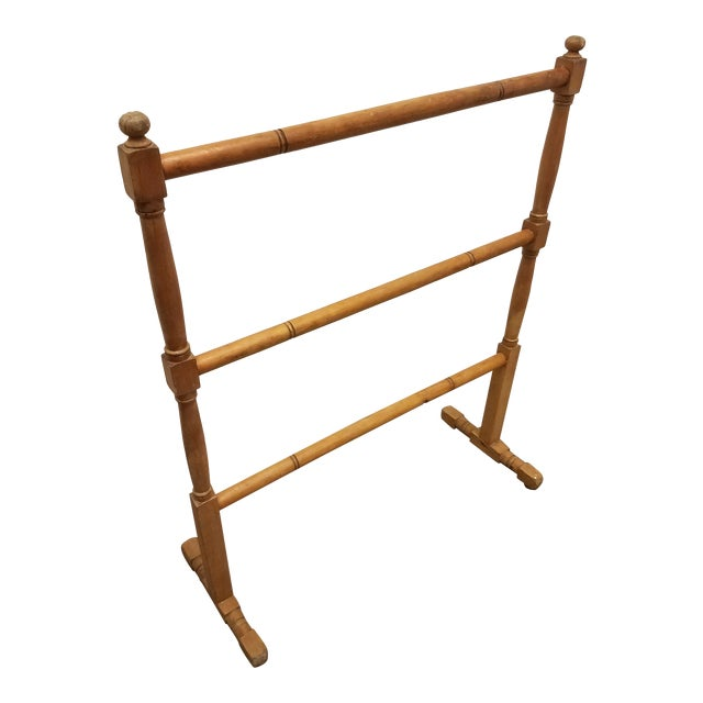 Antique English Pine Quilt or Towel Stand For Sale