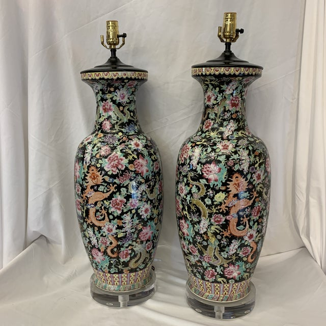 Massive Antique Qing Daoguang Chinese Vase Lamps - a Pair For Sale - Image 13 of 13