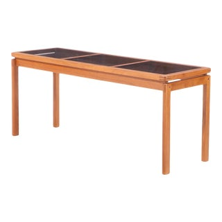 Mid-Century Danish Modern Smoke Glass Top Teak Console Table For Sale