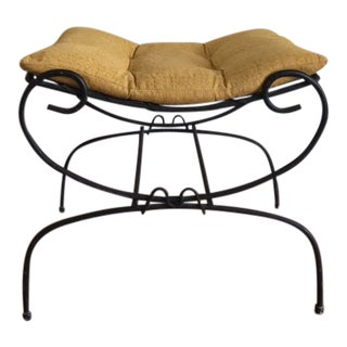 Vintage Mid Century Italian Wrought Iron Bench W/Cushion For Sale