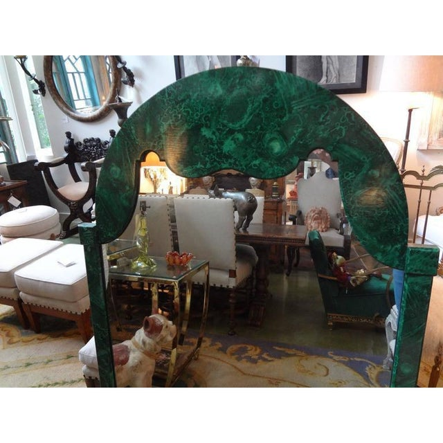 Hollywood Regency 1960's Vintage Italian Faux Malachite Lacquered Mirror For Sale - Image 3 of 8