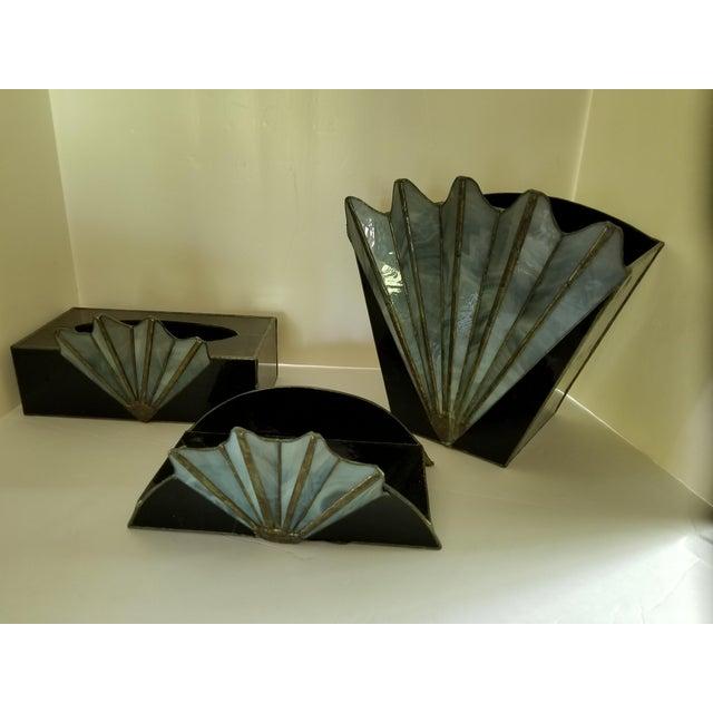 French Art Deco Black Glass Waste Basket - Set 3 For Sale - Image 12 of 12