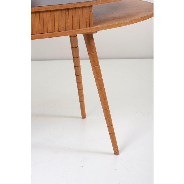 Light 1950s Ladies Desk or Vanity With Tambour Door Attributed to Eduard Ludwig For Sale - Image 12 of 13