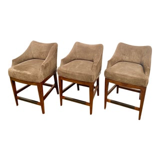 Contemporary Vanguard Furniture Suede Bar Stools - Set of 3 For Sale