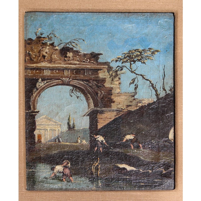 "Romantic scene oil on canvas of ruins & a temple. Italian, late 18th century. Laid down on Masonite. Framed: 16 3/8"" x 13..."