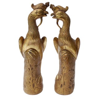 Borghese Gilded Carved Peacocks - A Pair For Sale