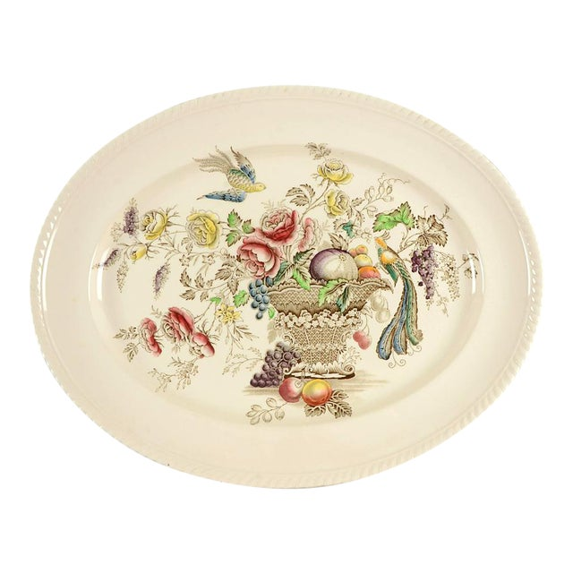 "1940s Johnson Brothers Bird of Paradise Brown Multicolor 17"" Oval Serving Platter For Sale"
