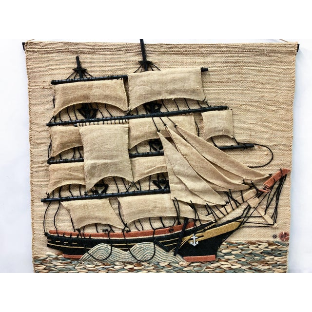 Don Freedman wall hanging of a large scale sailing ship. It is marked and signed. It dates to 1980.
