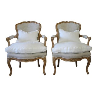 Louis XV Style Open Armchairs - A Pair