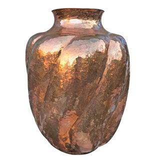 Mexican Hand-Hammered Copper Vase For Sale