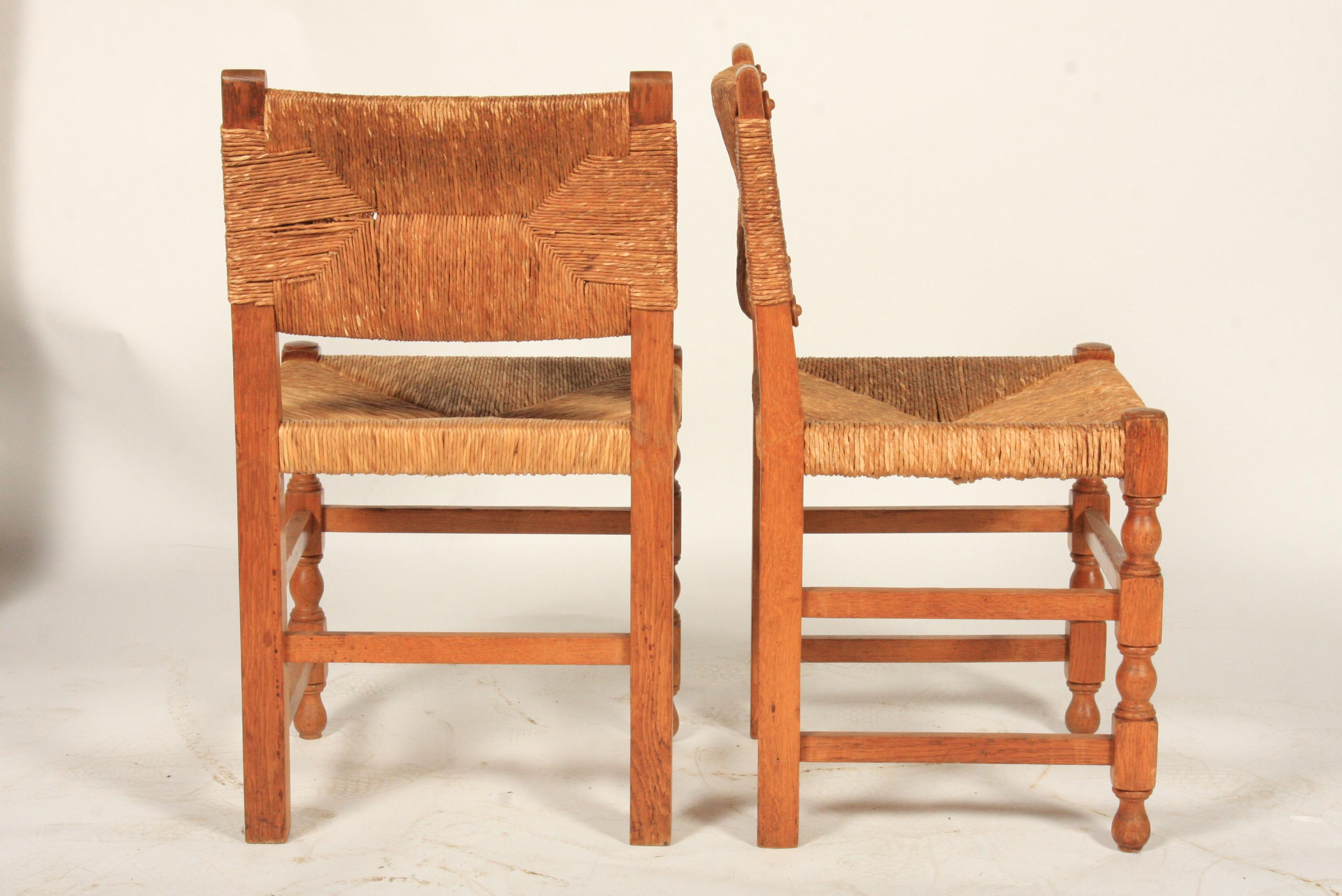 Vintage 1960s Tudor Style Chairs Featuring Rectangular Rush Backs And Rush  Seats, Oak Frames