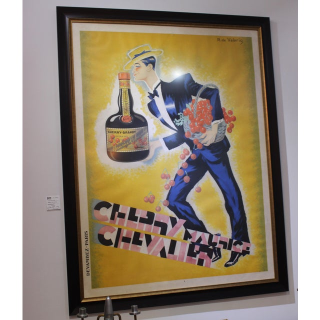 "Cherry Brandy Maurice Chevalier 70"" Lithographic Poster by Roger De Valerio 1935 For Sale - Image 11 of 12"