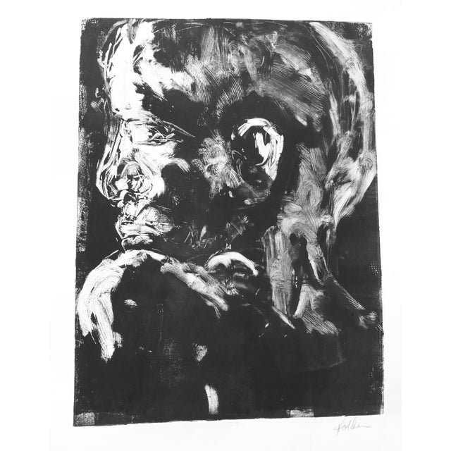 Original Monotype Portrait Drawing - Image 2 of 4