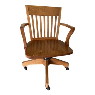 Mid-Century Vintage Solid Wood Bankers Chair For Sale