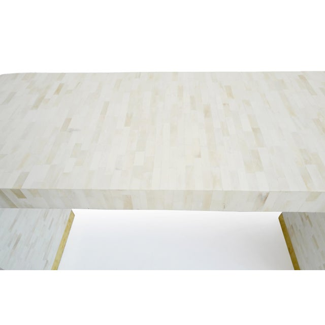 2010s White Inlay Waterfall Console For Sale - Image 5 of 8