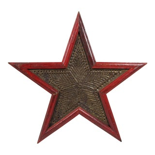 Vintage American Farm Barn Rustic Punched Tin and Wood Red Star Hanging Wall Art For Sale