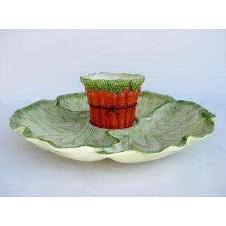 Vintage Fitz & Floyd Porcelain Ceramic Cabbage-Shaped Vegetable Dip Platter -2 Pieces Preview