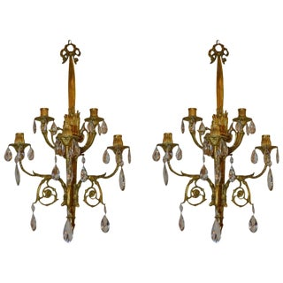 Louis XVI Style Tall Bronze Wall Sconces - A Pair For Sale