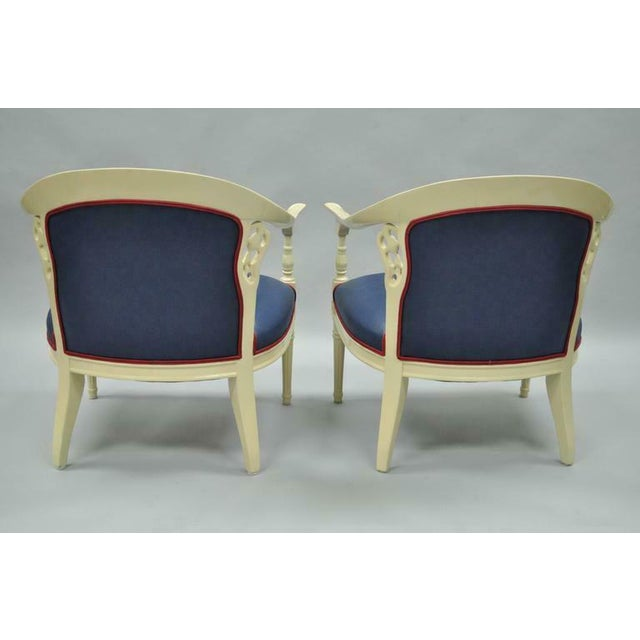 Cream Lacquered Chinoiserie Blue Barrel Back Lounge Club Arm Chairs - A Pair For Sale In Philadelphia - Image 6 of 10