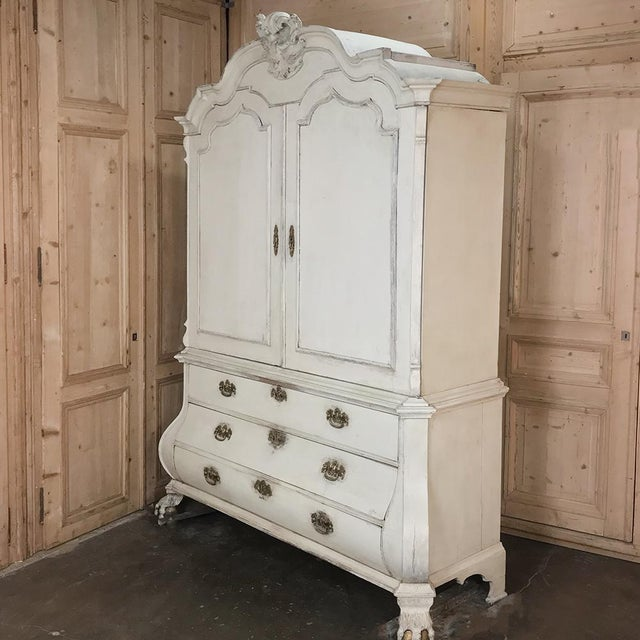 18th Century Dutch Painted Wardrobe - Linen Cabinet is a stunning specimen of the cabinetmaker's art! High, triple arched...