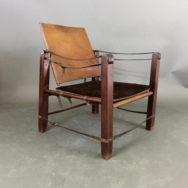 1940s American Mid-Century Safari Chair, Reversible Seat Cover For Sale - Image 5 of 13