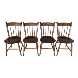 Nichols & Stone Arrow Back Hitchcock Style Side Chairs - Set of 4 For Sale
