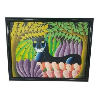 Fritz Philemon Original Haitian Panther Painting For Sale