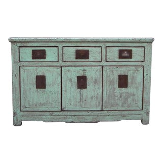 1940s Asian Modern Pale Blue 3 Drawer Sideboard For Sale