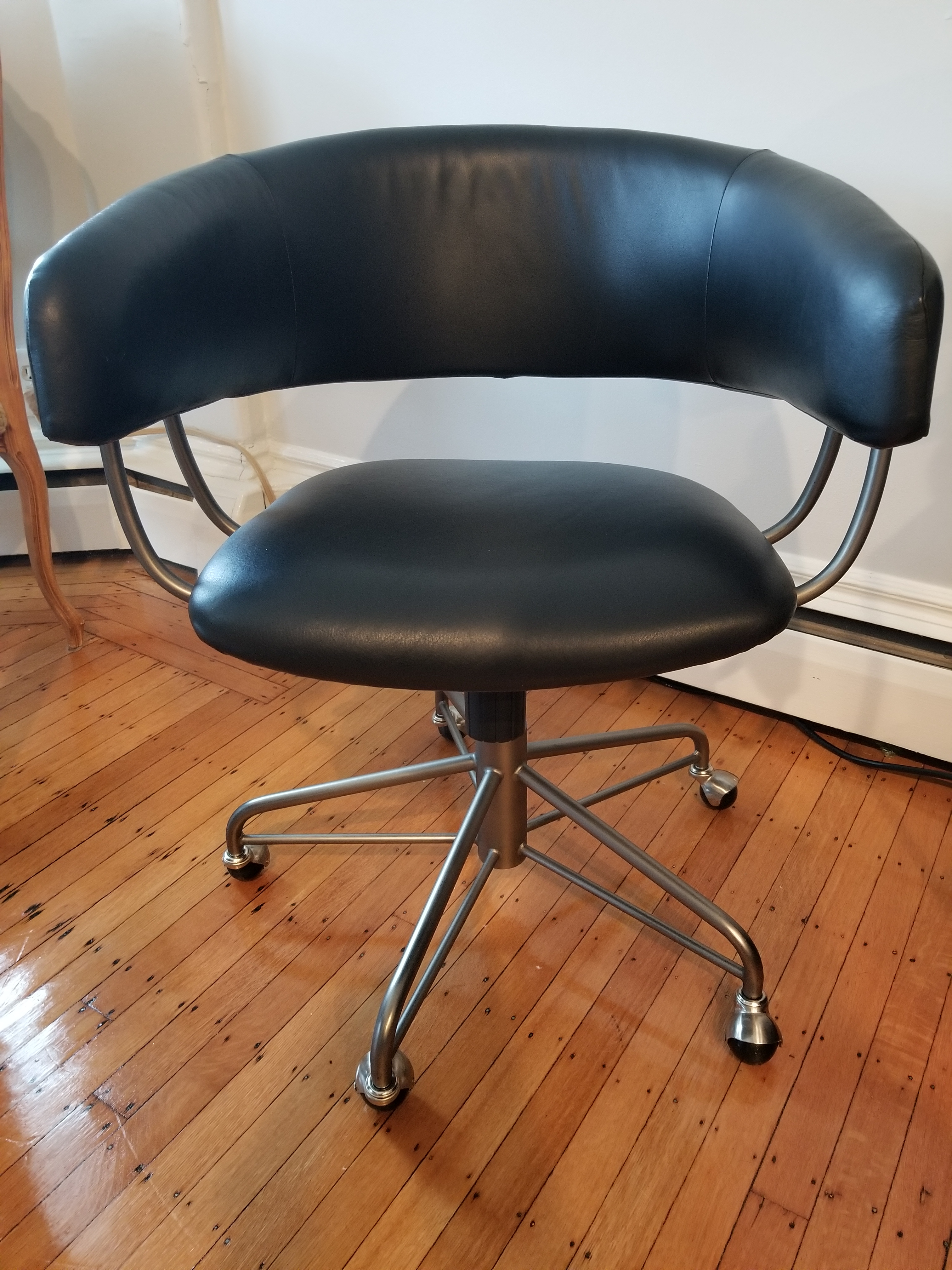 West elm office chair Distressed Brown Leather Modern Leather Office Chair From West Elm Adjustable Seat Height Swivels And Rolls Swivel Chair Design West Elm Halifax Office Chair Chairish