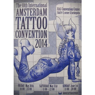 2014 Contemporary Dutch Poster, Amsterdam International Tattoo Convention - Vince For Sale