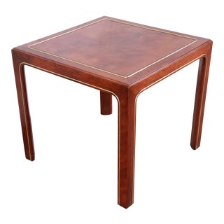 Hollywood Regency Burl Wood, Mahogany, and Brass Occasional Side Table by Hekman For Sale
