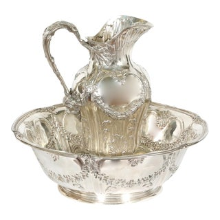 Art Nouveau French Tetard Sterling Wash Basin / Jug - a Pair For Sale