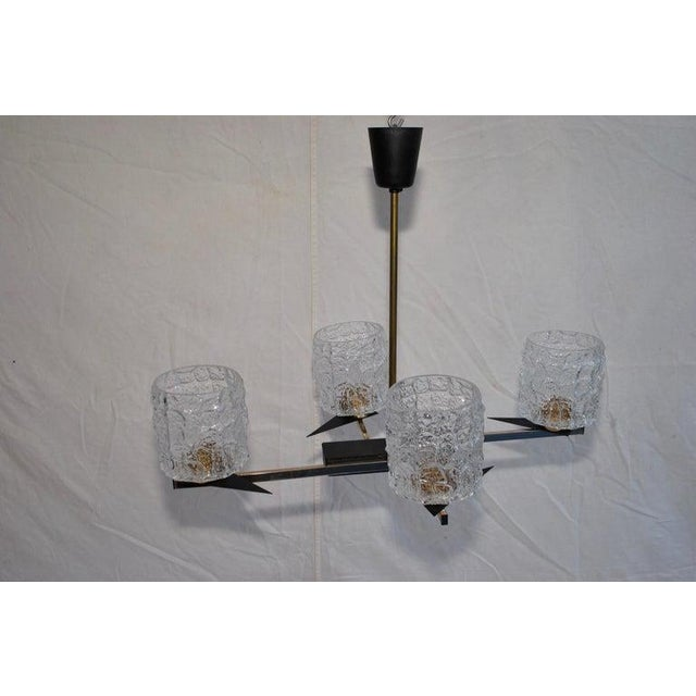 French Midcentury French Chandelier with Glass Shades Design by Maison Arlus For Sale - Image 3 of 7