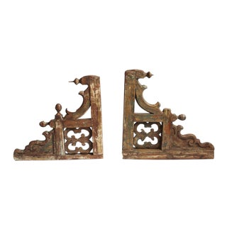 Colonial Teak Wood Architectural Brackets - A Pair For Sale