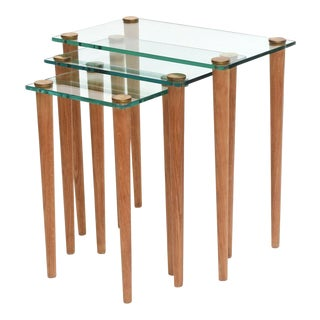 American Modern Set of Walnut, Brass and Glass Nesting Tables, Gilbert Rohde For Sale