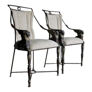 Winged Lion Neoclassical Armchairs, a Pair