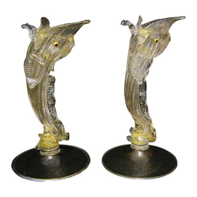 Pair Venetian Murano Glass Dolphin Vessels Italy Italian Mid Century Modern - Image 1 of 11