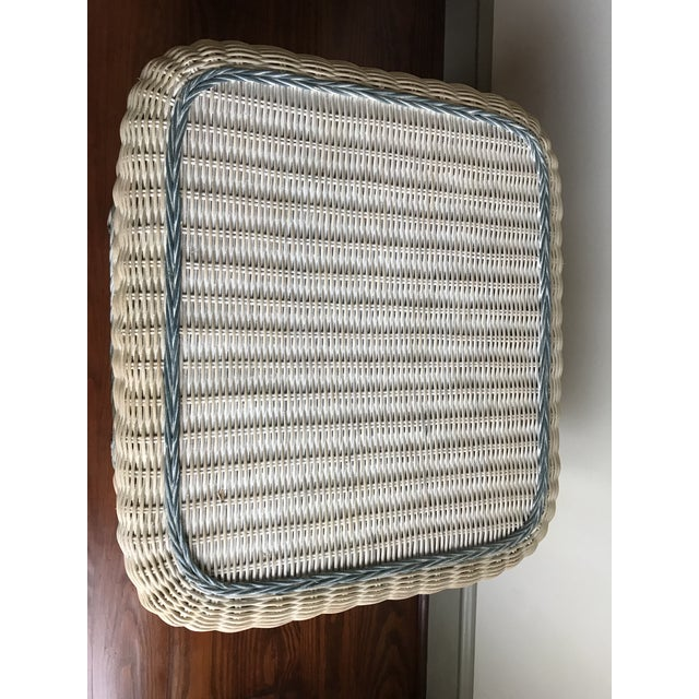 Boho Chic White Washed Wicker Side Table For Sale - Image 4 of 9