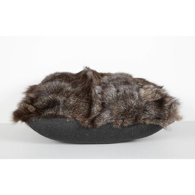 Pair of Luxe Genuine Fox Fur Pillows in Hues of Grey For Sale In New York - Image 6 of 7
