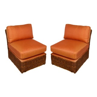 Pair of Vintage Wicker Slipper Chairs For Sale