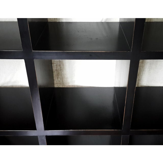 Asian Asian Modern Four Hands Black Lacquered Elm Bookcase For Sale - Image 3 of 11