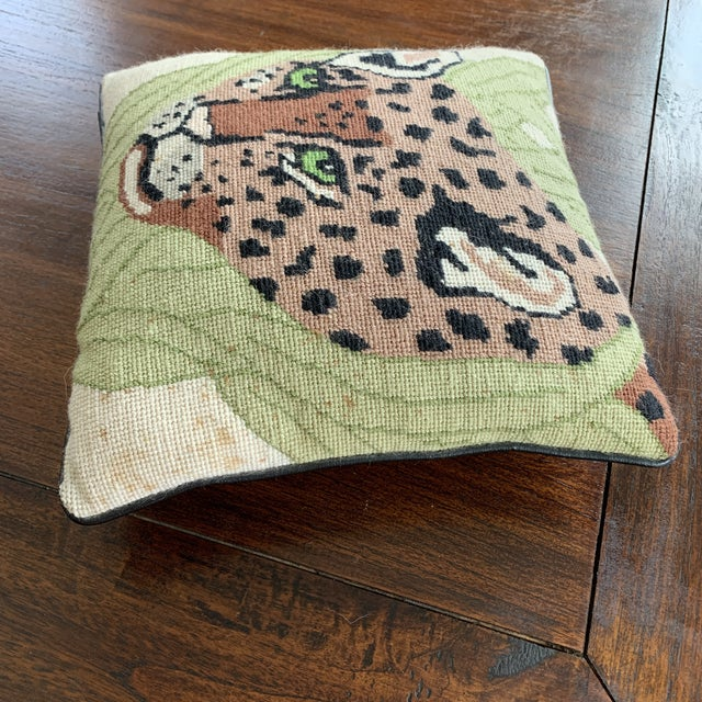 Boho Chic Vintage Mid Century Cheetah Needlepoint Pillow For Sale - Image 3 of 8