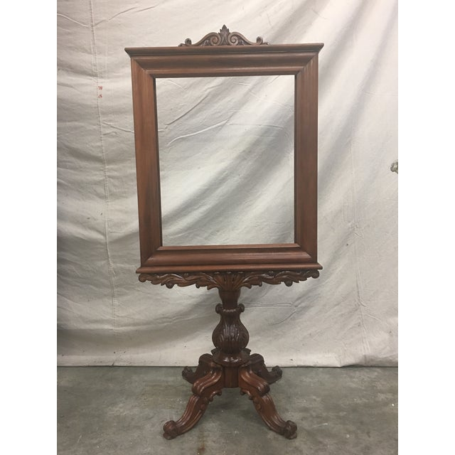 English Antique Mahogany Expandable Fireplace Screen on Pedestal For Sale - Image 10 of 11