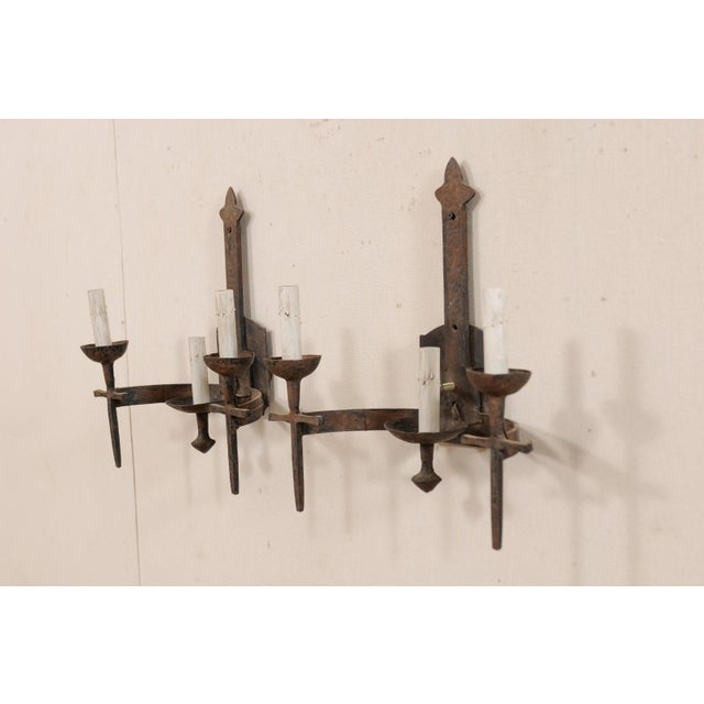 Mid 20th Century French Three-Light Mid-Century Torch-Style Iron Sconces - a Pair For Sale - Image 5 of 12