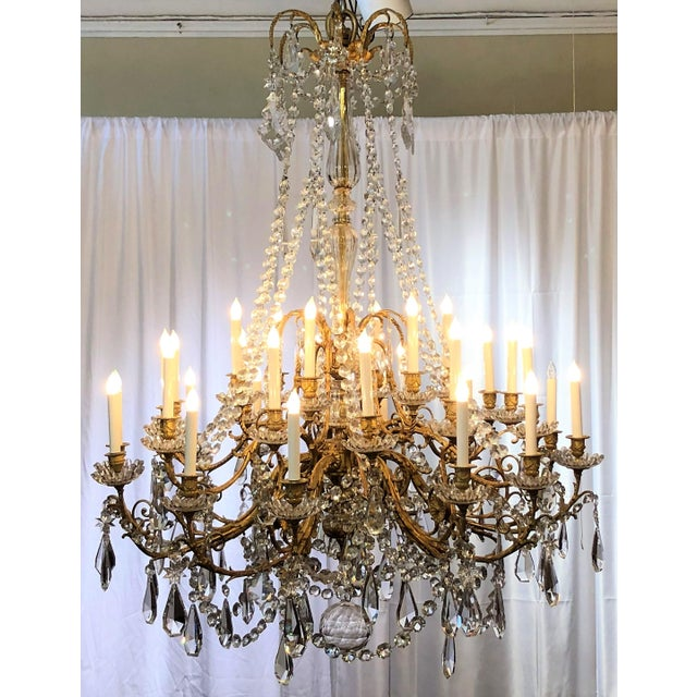 Empire Antique French Baccarat Crystal Bronze d'Ore Chandelier With Thirty Lights, Circa 1880 For Sale - Image 3 of 3