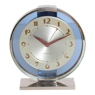 Machine Age Art Deco Westclox Desk Clock Chrome with Cobalt Glass For Sale